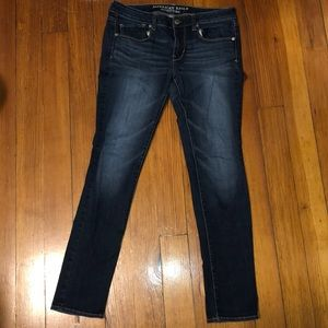 American Eagle Blue Skinny Jeans, Size 8